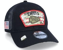 Kansas City Chiefs NFL Salute To Service 9TWENTY Black/Camo Trucker - New Era