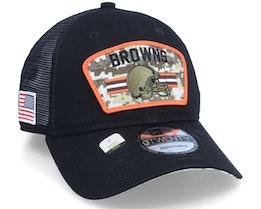 Cleveland Browns NFL21 Salute To Service 9TWENTY Black/Camo Trucker - New Era