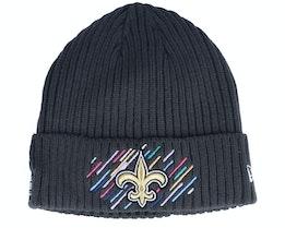 New Orleans Saints NFL21 Crucial Catch Knit Dark Grey Cuff - New Era