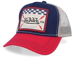 Live Fast California Square Patch Navy/Red/Beige Trucker - Von Dutch