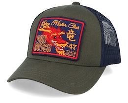 Dragon Race Motor Club Patch Olive/Navy Trucker - Von Dutch