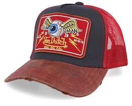 Flying Eye Patch Charcoal/Brown/Red Trucker - Von Dutch