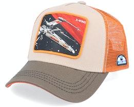Starwars X-Wing Starfighter LTD5 Beige/Grey/Orange Trucker - Capslab