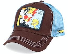 Looney Tunes Tweety VS Sylvester Brown/Blue Trucker - Capslab
