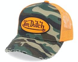 Oval Patch Baseball Mesh Junior Camo/Orange Trucker - Von Dutch