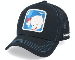 Looney Tunes Porky Pig Black Trucker - Capslab