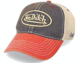 Dad Cap Unstructured Indigo/Red/Beige Trucker - Von Dutch
