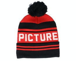 Casu Beanie B Black Red/Black Pom - Picture