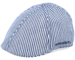 Duck Cap Cotton Stripe Navy/White Flat Cap - Hammaburg