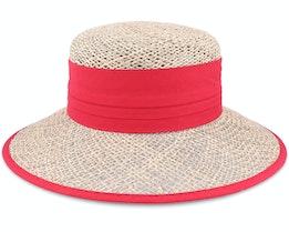 Cloche Seagras Natur/Red Straw Hat - Seeberger