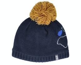 Kids Paw Knit Cap Night Blue Pom - Jack Wolfskin