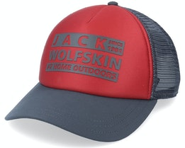 Brand Mesh Cap Dark Lacquer Red/Navy Trucker - Jack Wolfskin
