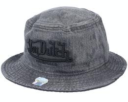 Fishing Hat Brand Denim Acid Black Bucket - Von Dutch