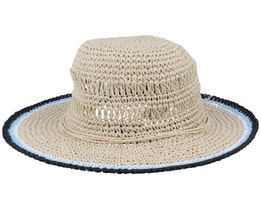 Paper Crochet Cloche Contrast Linen/Black Sun Hat - Seeberger