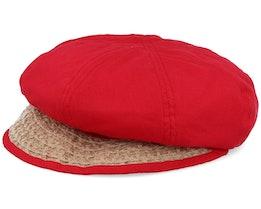 Balloncap Material Mix Wine Red/Sand Flat Cap - Seeberger
