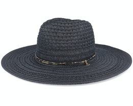 Fedora In Braid Mix And Leather Trimming Black Straw Hat - Seeberger