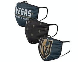 Vegas Golden Knights 3-Pack NHL Black/Grey/Gold Face Mask - Foco