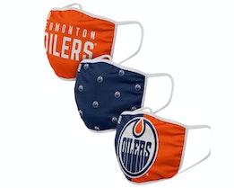 Edmonton Oilers 3-Pack NHL Navy/Orange Face Mask - Foco