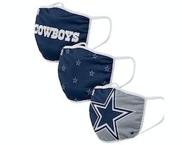 Dallas Cowboys 3-Pack NFL Navy Face Mask - Foco