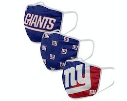 New York Giants 3-Pack NFL Blue Face Mask - Foco