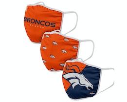 Denver Broncos 3-Pack NFL Orange/Navy Face Mask - Foco