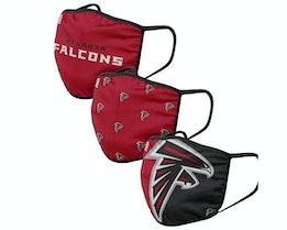 Atlanta Falcons 3-Pack NFL Red/Black Face Mask - Foco