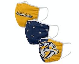 Nashville Predators 3-Pack NHL Navy/Yellow Face Mask - Foco