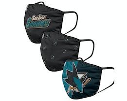 San Jose Sharks 3-Pack NHL Black/Teal Face Mask - Foco
