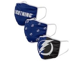 Tampa Bay Lightning 3-Pack NHL Navy Face Mask - Foco