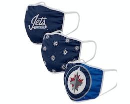 Winnipeg Jets 3-Pack NHL Navy Face Mask - Foco