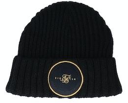 Rib Beanie Black & Gold Cuff - SikSilk