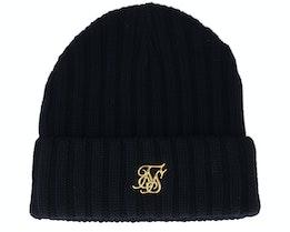 Ribbed Knit Beanie Black & Gold Cuff - SikSilk