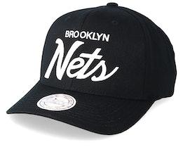 Brooklyn Nets Classic Script 110 Black Adjustable - Mitchell & Ness
