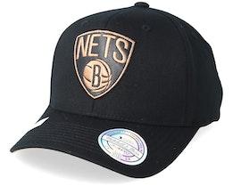 Brooklyn Nets Leather Logo Black 110 Adjustable - Mitchell & Ness