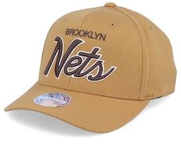 Brooklyn Nets Classic Script Rust 110 Adjustable - Mitchell & Ness
