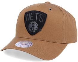Brooklyn Nets Trek Tan Adjustable - Mitchell & Ness