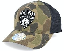 Brooklyn Nets Duck Camo/Black 110 Trucker - Mitchell & Ness