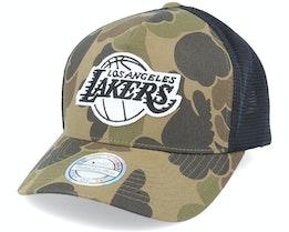 LA Lakers Duck Camo/Black 110 Trucker - Mitchell & Ness