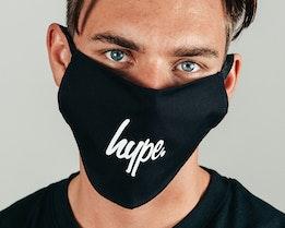 1-Pack Black Script Black/White Face Mask - Hype