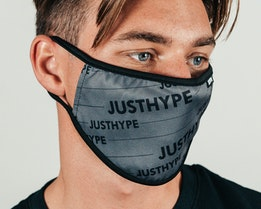 Grey Bold Logo Grey/Black Face Mask - Hype
