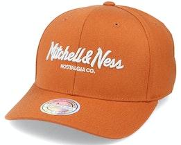 Pinscript Snapback Burnt Orange/Silver 110 Adjustable - Mitchell & Ness