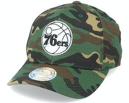 Philadelphia 76ers Black/White Logo Camo 110 Adjustable - Mitchell & Ness