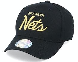 Hatstore Exclusive Brooklyn Nets Script Black/Gold 110 - Mitchell & Ness