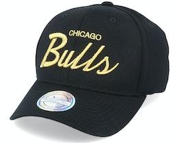 Hatstore Exclusive Chicago Bulls Script Black/Gold 110 - Mitchell & Ness