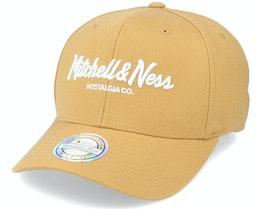 Pinscript Snapback Wheat/White 110 Adjustable - Mitchell & Ness