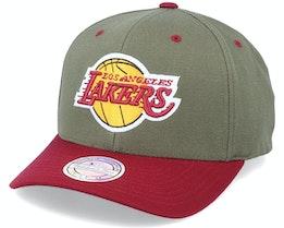 LA Lakers Exclusive La Lakers Olive/Maroon 110 Adjustable - Mitchell & Ness