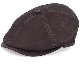 Rebel Nappa Wax Brown Flat Cap - MJM Hats
