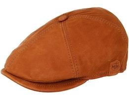 Rebel Nappa Wax Cognac Brown Flat Cap - MJM Hats