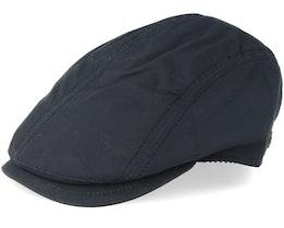 Daffy-3 Wax Cotton W-P Black Flat Cap - MJM Hats