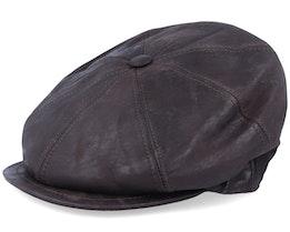 Blue Line Bono Leather Dark Brown Flat Cap - MJM Hats